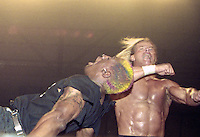 """NBA star Dennis Rodmon is hit by Lex Luger during  a NWO """"Bash at the Beach"""" pro wrestling event in Daytona Beach, FL, July 1997.  (Photo by Brian Cleary/www.bcpix.com)"""