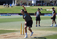 25th November 2019; Mt Maunganui, New Zealand;  Trent Boult warming up International test match day 5 of 1st test, New Zealand versus England;  at Bay Oval, Mt Maunganui, New Zealand.
