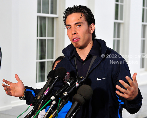 Apolo Anton Ohno, Olympic Short Track Speed Skater, makes remarks to reporters after meeting United States President Barack Obama and first lady Michele Obama at the White House in Washington, D.C. on Wednesday, April 21, 2010..Credit: Ron Sachs / Pool via CNP