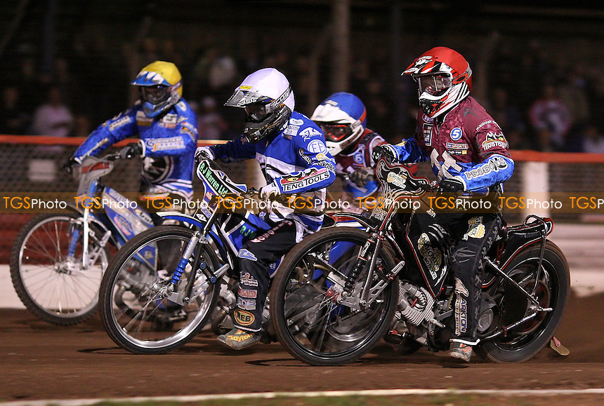 Heat 7: Adam Shields (red), Daniel King (white), Kyle Legault (blue) and Ales Dryml (yellow) - Lakeside Hammers vs Ipswich Witches, Elite League Speedway at the Arena Essex Raceway, Purfleet - 27/08/10 - MANDATORY CREDIT: Rob Newell/TGSPHOTO - Self billing applies where appropriate - 0845 094 6026 - contact@tgsphoto.co.uk - NO UNPAID USE.