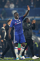 Chelsea's Kurt Zouma celebrates on the pitch at the end of the match as he waves at the home fans during Chelsea vs Watford, Premier League Football at Stamford Bridge on 15th May 2017