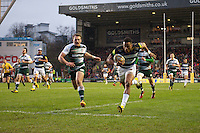 Anthony Watson of Bath Rugby runs in the opening try of the match. Aviva Premiership match, between Leicester Tigers and Bath Rugby on November 29, 2015 at Welford Road in Leicester, England. Photo by: Patrick Khachfe / Onside Images