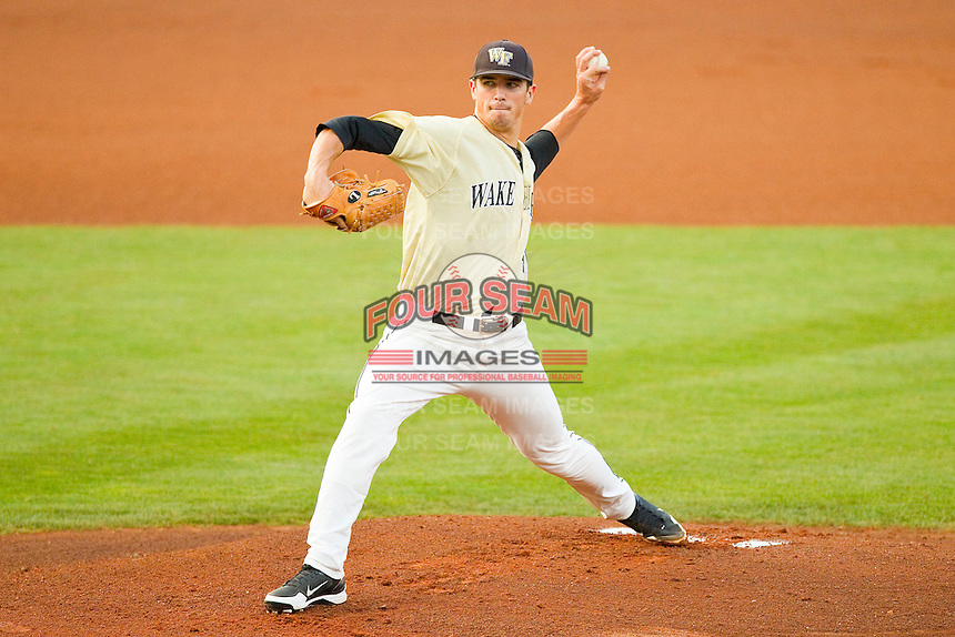 Wake Forest Demon Deacons starting pitcher Brian Holmes #45 in action against the Miami Hurricanes at NewBridge Bank Park on May 25, 2012 in Winston-Salem, North Carolina.  The Hurricanes defeated the Demon Deacons 6-3.  (Brian Westerholt/Four Seam Images)