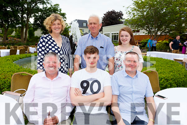 Enjoying the sun and fun at the Dairymaster 50th Anniversary BBQ in the Ballygarry Hotel on Sunday.<br />  Seated l-r, Liam Leen, Darragh and Maurice O'Connor.<br /> Back l-r, Margaret Leen, Denis O'Sullivan and Aoife O'Connor.