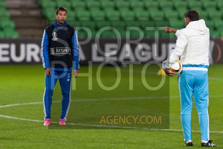 Voetbal: 16-9-2015,UEFA, Fc Groningen vs Olympique de Marseille,training,(L- R)Javi Manquillo  of Olympique de Marseille,,Michel coach of Olympique de Marseille