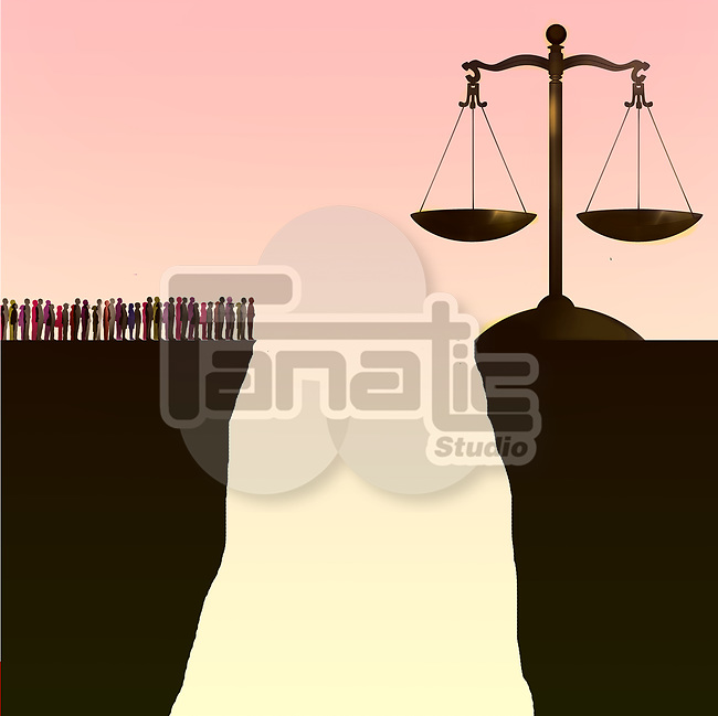 Concept image of a group of people separated from the scales of justice by a large chasm depicting inability to get justice