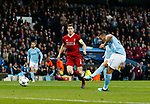 Manchester City's Gabriel Jesus scoring his sides opening goal during the Champions League Quarter Final 2nd Leg match at the Etihad Stadium, Manchester. Picture date: 10th April 2018. Picture credit should read: David Klein/Sportimage