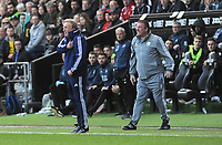 Cardiff City manager Neil Warnock shouts at the referee <br /> <br /> Photographer Ian Cook/CameraSport<br /> <br /> The EFL Sky Bet Championship - Swansea City v Cardiff City - Sunday 27th October 2019 - Liberty Stadium - Swansea<br /> <br /> World Copyright © 2019 CameraSport. All rights reserved. 43 Linden Ave. Countesthorpe. Leicester. England. LE8 5PG - Tel: +44 (0) 116 277 4147 - admin@camerasport.com - www.camerasport.com