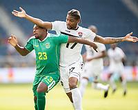 KANSAS CITY, KS - JUNE 26: Anthony Jeffrey #23, Mekeil Williams #17 during a game between Guyana and Trinidad