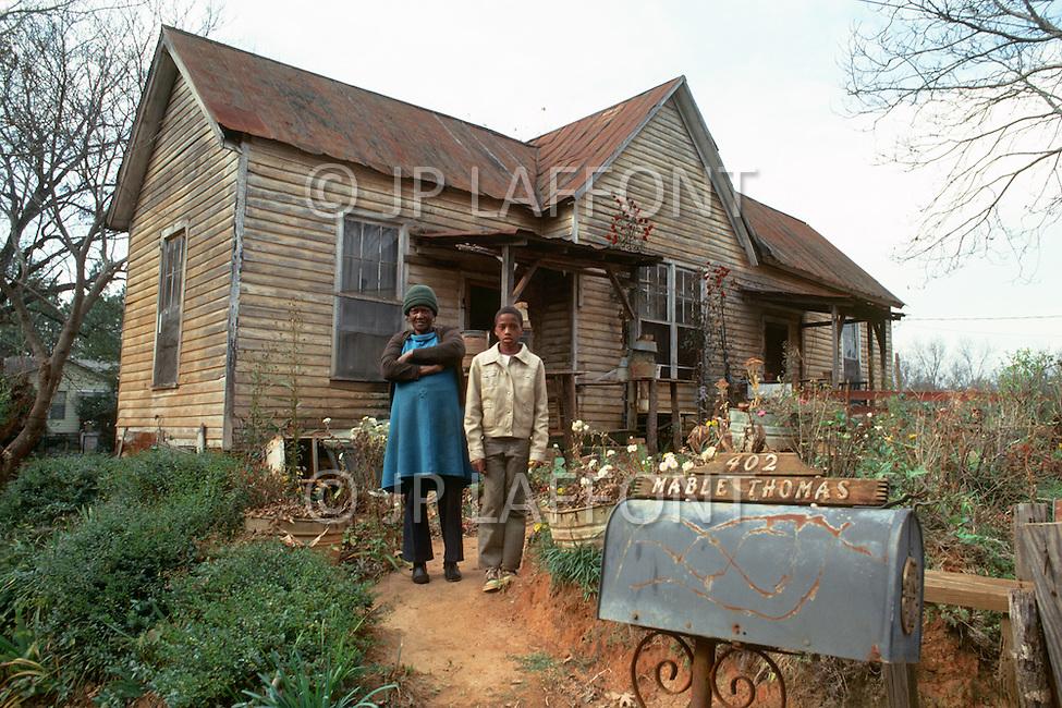 December 1976. Plains, Georgia. Poor black housing in Plains.