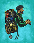 Illustrative image of male backpacker representing trekking against blue background