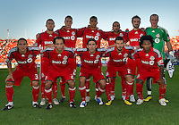 28 August 2010: The Toronto FC starting eleven during a game between Real Salt Lake and Toronto FC at BMO Field in Toronto..The game ended in a 0-0 draw..