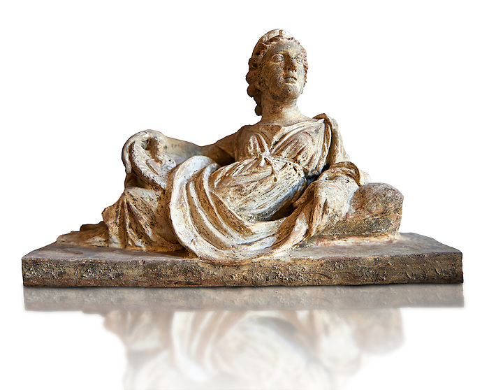 Etruscan Hellenistic style cinerary, funreary, urn  cover with a depiction of a women,  National Archaeological Museum Florence, Italy, white background