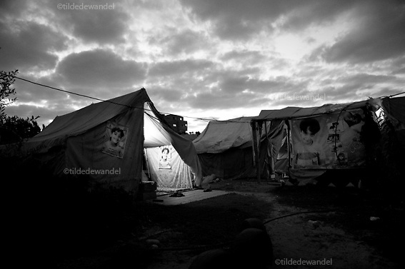 2010 November 2 - Beitlahya - Gaza.<br /> Tent of Awaja family. The family lost their house during operation 'Cast Lead', the Israeli attack on the Gazastrip in the winter of 2008-2009. Son Ibrahim (10) got killed while his father was carrying him in his arms.