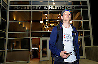 Feb 28, 2015; Spokane, WA, USA; Gonzaga Bulldogs guard Kevin Pangos (4) walks out the McCarthey Athletic Center after returning home from a game against the Duke Blue Devils. Mandatory Credit: James Snook-USA TODAY Sports