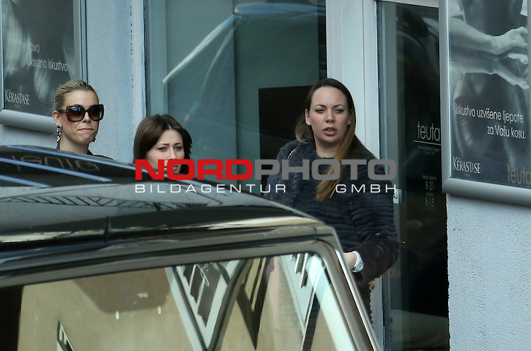 EXCLUSIVE 19.03.2013., Zagreb,Croatia - Pregnant wife of Luka Modric, Vanja Modric, visited the hairdresser Teuta with his friends<br /> <br /> Foto &copy;  nph / PIXSELL / Sajin Strukic