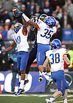 Boise State defenders Donte Deayon (30) and Darian Thompson (35) break up a pass to Nevada receiver Brandon Wimberly during the final seconds of an NCAA college football game on Saturday, Dec. 1, 2012,  in Reno, Nev. Boise State won 27-21. (AP Photo/Cathleen Allison)