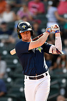 Left fielder Ian Strom (40) of the Columbia Fireflies bats in a game against the Rome Braves on Sunday, July 2, 2017, at Spirit Communications Park in Columbia, South Carolina. Columbia won, 3-2. (Tom Priddy/Four Seam Images)