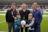 Lee Trundle with match ball sponsors during the Barclays Premier League match between Swansea City and Leicester City at the Liberty Stadium, Swansea on December 05 2015