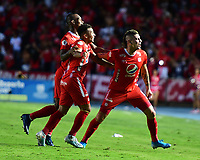 CALI - COLOMBIA, 19-10-2019: Michael Rangel del América celebra después de anotar el primer gol de su equipo partido por la fecha 18 de la Liga Águila II 2019 entre América de Cali y Atlético Nacional jugado en el estadio Pascual Guerrero de la ciudad de Cali. / Michael Rangel of America celebrates after scoring the first goal of his team during match for the date 18 as part of Aguila League II 2019 between America de Cali and Atletico Nacional played at Pascual Guerrero stadium in Cali. Photo: VizzorImage / Nelson Rios / Cont