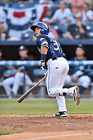Asheville Tourists second baseman Max George (3) watches the ball fly during a game against the Greenville Drive at McCormick Field on April 15, 2017 in Asheville, North Carolina. The Tourists defeated the Drive 5-4. (Tony Farlow/Four Seam Images)