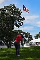 Jon Rahm (ESP) hits his approach shot towards the American Flag on 18 during Rd4 of the 2019 BMW Championship, Medinah Golf Club, Chicago, Illinois, USA. 8/18/2019.<br /> Picture Ken Murray / Golffile.ie<br /> <br /> All photo usage must carry mandatory copyright credit (© Golffile | Ken Murray)