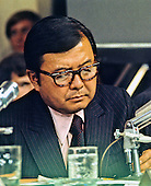 United States Senator Daniel K. Inouye (Democrat of Hawaii) takes notes as he listens to testimony before the Senate Watergate Committee during the Summer of 1973.  Senator Inouye passed away due to respiratory complications at Walter Reed National Military Medical Center in Bethesda on Monday, December 17, 2012. He was 88..Credit: Arnie Sachs / CNP
