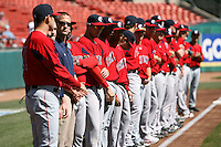 April 14, 2010:  The Pawtucket Red Sox line up for the national anthem before a game at Coca-Cola Field in Buffalo, New York.  Pawtucket is the Triple-A International League affiliate of the Boston Red Sox.  Photo By Mike Janes/Four Seam Images