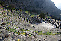DELPHI, GREECE - APRIL 11 : A panoramic view from the top of the theatre, North-West edge of the temenos, on April 11, 2007 in Delphi, Greece. The theatre was built of local Parnassos limestone in the 3rd century BC. The auditorium consists of 35 rows of seats and could accomodate some 5'000 spectators. (Photo by Manuel Cohen)