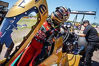 Apr 23, 2017; Baytown, TX, USA; NHRA top fuel driver Leah Pritchett during the Springnationals at Royal Purple Raceway. Mandatory Credit: Mark J. Rebilas-USA TODAY Sports