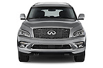 Car photography straight front view of a 2015 Infiniti QX80 3.5 5 Door SUV Front View