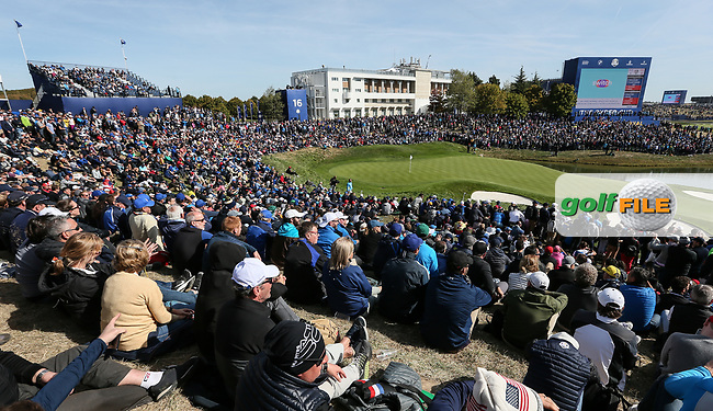 View of the 16th  during Saturday's Fourballs, at the Ryder Cup, Le Golf National, Île-de-France, France. 29/09/2018.<br /> Picture David Lloyd / Golffile.ie<br /> <br /> All photo usage must carry mandatory copyright credit (© Golffile | David Lloyd)