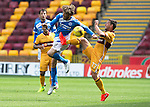 Motherwell v St Johnstone&hellip;13.08.16..  Fir Park<br />Scott McDonald puts the boot in on Murray Davidson<br />Picture by Graeme Hart.<br />Copyright Perthshire Picture Agency<br />Tel: 01738 623350  Mobile: 07990 594431
