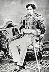 1873, Japan - Meiji Emperor (1852-1912), personal name Mutsuhito also called Meiji the Great or Emperor Mutsuhito was the 122nd emperor of Japan according to the traditional order of succession, reigning from 3 February 1867 until his death. He presided over a time of rapid change in Japan, as the nation rose from a feudal shogunate to become a world power. This young Meiji emperor in Military dress. Also photographed by Uchida Kuichi in 1873.  (Photo by Kingendai Photo Library/AFLO)