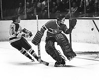 California Golden Seal Hilliard Graves scores goalie Michael Plasse.(1972 photo/Ron Riesterer}