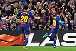 League Santander 2017/2018. Game: 28.<br /> FC Barcelona vs At. Madrid: 1-0.<br /> Sergi Roberto &amp; Lionel Messi.