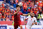 Do Duy Manh of Vietnam (L) fights for the ball with Baha' Seif of Jordan (R) during the AFC Asian Cup UAE 2019 Round of 16 match between Jordan (JOR) and Vietnam (VIE) at Al Maktoum Stadium on 20 January 2019 in Dubai, United Arab Emirates. Photo by Marcio Rodrigo Machado / Power Sport Images