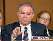 United States Senator Tim Kaine (Democrat of Virginia) questions U.S. Secretary of Defense Chuck Hagel and Chairman, Joint Chiefs of Staff General Martin E. Dempsey, U.S. Army, as they deliver testimony before the U.S. Senate Committee on Armed Services on the U.S. policy towards Iraq and Syria and the threat posed by the Islamic State of Iraq and the Levant (ISIL) in Washington, D.C. on Tuesday, September 16, 2014.<br /> Credit: Ron Sachs / CNP