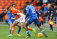 Blackpool's Colin Daniel battles with Portsmouth's Kyle Bennett and Jamal Lowe<br /> <br /> Photographer Alex Dodd/CameraSport<br /> <br /> The EFL Sky Bet League One - Blackpool v Portsmouth - Saturday 11th November 2017 - Bloomfield Road - Blackpool<br /> <br /> World Copyright &copy; 2017 CameraSport. All rights reserved. 43 Linden Ave. Countesthorpe. Leicester. England. LE8 5PG - Tel: +44 (0) 116 277 4147 - admin@camerasport.com - www.camerasport.com