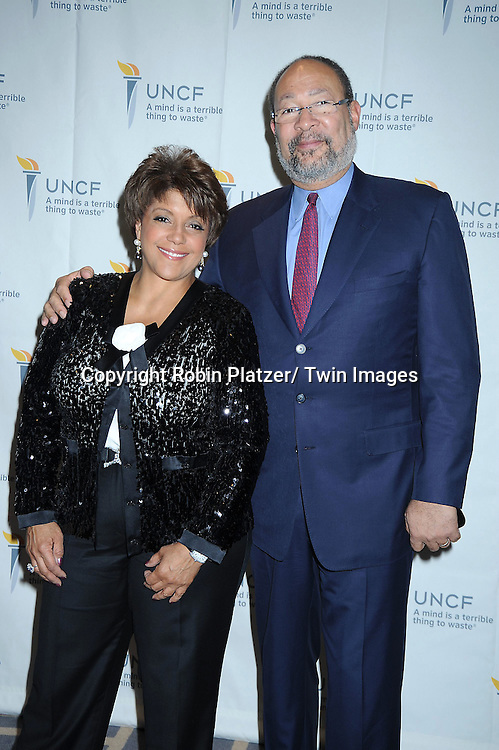 """Linda Johnson and Richard Parsons attending The UNCF Gala celebrating The 40th Anniversary of  """" A Mind is a Terrible Thing to Waste"""" ad campaign on March 3, 2011 at The Marriott Marquis Hotel in New York City. Vernon Jordan, Young & Rubicam and The Ad Council were honored."""