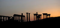 Tetrapylon and Great Colonnade at twilight, reconstructed after 1963 by Syrian Directorate of Antiquities, Palmyra, Syria Picture by Manuel Cohen