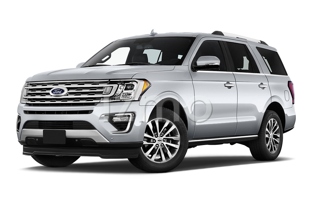 Stock pictures of low aggressive front three quarter view of a 2018 Ford Expedition Limited 5 Door SUV