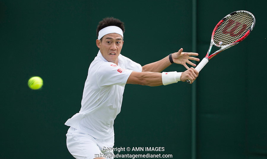 KEI NISHIKORI (JPN)<br /> <br /> The Championships Wimbledon 2014 - The All England Lawn Tennis Club -  London - UK -  ATP - ITF - WTA-2014  - Grand Slam - Great Britain -  24th June 2014. <br /> <br /> © AMN IMAGES