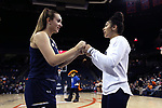 CHARLOTTESVILLE, VA - FEBRUARY 15: Notre Dame's Marina Mabrey (left) and Mychal Johnson (right). The University of Virginia Cavaliers hosted the University of Notre Dame Fighting Irish on February 15, 2018 at John Paul Jones Arena in Charlottesville, VA in a Division I women's college basketball game. Notre Dame won the game 83-69.