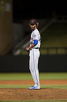 Scottsdale Scorpions relief pitcher Gerson Bautista (46), of the New York Mets organization, gets ready to deliver a pitch during an Arizona Fall League game against the Salt River Rafters at Salt River Fields at Talking Stick on October 11, 2018 in Scottsdale, Arizona. Salt River defeated Scottsdale 7-6. (Zachary Lucy/Four Seam Images)