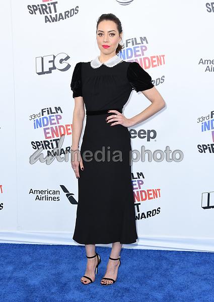 03 March 2018 - Santa Monica, California - Aubrey Plaza. 2018 Film Independent Spirit Awards -Arrivals, held at the Santa Monica Pier. Photo Credit: Birdie Thompson/AdMedia