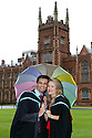 Queen's University graduations, Tuesday 2 July 2013.<br /> <br /> Amy Hunter from Newtownabbey and finace Andrew Shannon from Ballyclare celebrate their graduation at Queen's University. Amy graduates with a degree in <br /> Medicine and Andrew with a degree in Dental surgery. The couple have been together since they were pupils at Ballyclare High School and will get married in January 2014.