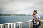 Wellington, NEW ZEALAND - January 17: A couple look out to the view onboard the Interislander Kaitaki at the view of Breaker Bay. January 17, 2015 in Wellington, New Zealand. REAL PEOPLE. (Photo by Elias Rodriguez/ real-people.co.nz)