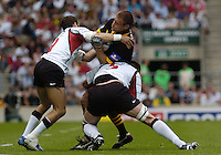 Twickenham, GREAT BRITAIN, 2004 Heineken Cup Final  Wasps flanker Paul Volley is caught with the ball, during the  London London Wasps v Toulouse, final at Twickenham on  23/05/2004  [Credit Peter Spurrier/Intersport Images].   [Mandatory Credit, Peter Spurier/ Intersport Images].