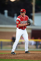 Batavia Muckdogs relief pitcher Trenton Hill (39) during a game against the Aberdeen Ironbirds on July 14, 2016 at Dwyer Stadium in Batavia, New York.  Aberdeen defeated Batavia 8-2. (Mike Janes/Four Seam Images)